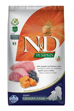 N&D Pumpkin DOG Puppy M/L Lamb & Blueberry 12kg (+ BAREL zdarma)