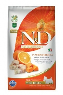 N&D GF Pumpkin DOG Adult Mini Codfish & Orange 2,5kg