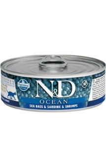 N&D CAT OCEAN Adult Tuna & Sardine & Shrimps 80g (1+1 ZDARMA)