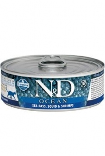 N&D CAT OCEAN Adult Tuna & Squid & Shrimps 80g (1+1 ZDARMA)