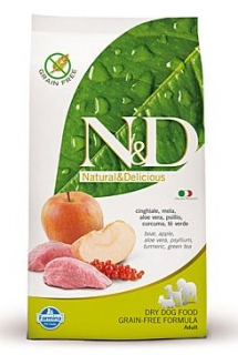 N&D Grain Free DOG Adult Boar & Apple 800g