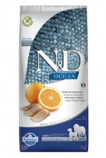 N&D OCEAN DOG Adult M/L Herring & Orange 12kg (+ BAREL zdarma)