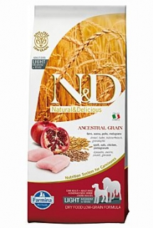 N&D LG DOG Light M/L Chicken&Pomegranate 12kg (+ BAREL zdarma)